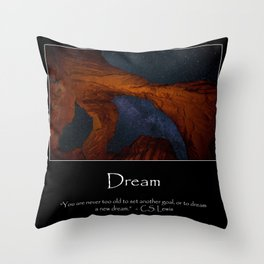 Motivational - Double Arch And The Milky Way - Utah Throw Pillow