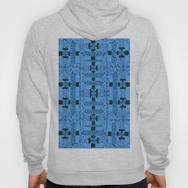 Blue and Black Abstract Dimensional Patchwork Hoody