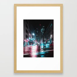 Frankfurt Night City Framed Art Print