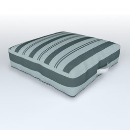 Night Watch Color of the Year Thick and Thin Horizontal Stripes on Blue Willow Green Outdoor Floor Cushion