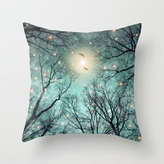 Nature Blazes Before Your Eyes (Mint Embers) Throw Pillow