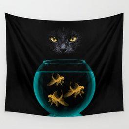 Black Cat Goldfish Wall Tapestry