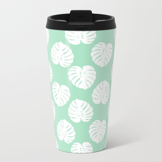 House plant monstera leaf tropical trendy pattern mint and white gender neutral decor Metal Travel Mug