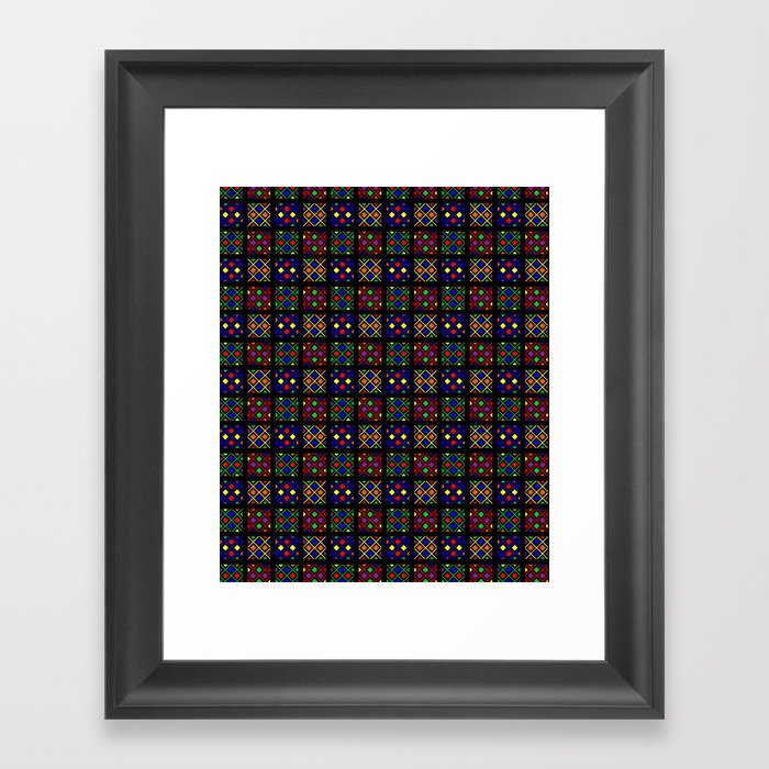 Kente Cloth Ankara Stained Glass Pattern Framed Art Print By