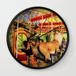 Fox Carousel Boston Greenway Carnival Merry-go-round Wall Clock