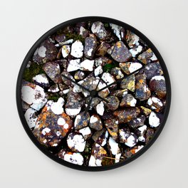 Rocks With Lichen Design Wall Clock