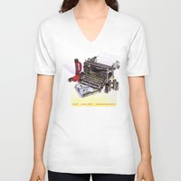 typewriter V-neck T-shirts featuring Typewriter by Nancy L. Hoffmann
