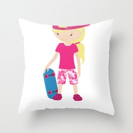 Sporty Girls Skater Girl Throw Pillow