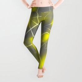 Crossing gray waves of light from flowing yellow stars on the fibers of the veil with dark, sparkl Leggings