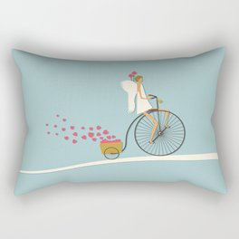Love Delivery. Cupid on the bike, retro style design Rectangular Pillow