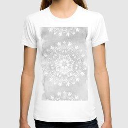 white on gray mandala design T-shirt