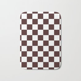 Checkered - White and Dark Sienna Brown Bath Mat