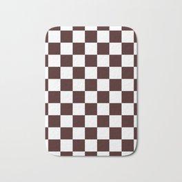 Checkered - White and Dark Sienna Brown Bath Mat