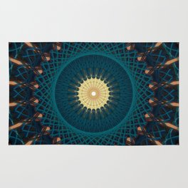 Mandala in blue and golden tones Rug