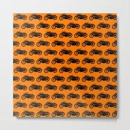 Antique Motorcycle // Orange Metal Print