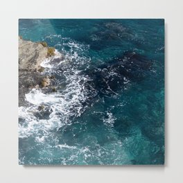 Rocky Blue Coastline Waves Nature Scene Metal Print