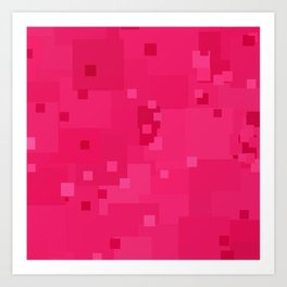 Raspberry Sorbet Square Pixel Color Accent Art Print