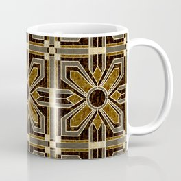 Art Deco Floral Tiles in Browns and Faux Gold Coffee Mug
