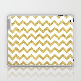 Chevron Gold And White Laptop & iPad Skin