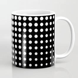 Modern techno shrinking polka dots black and white Coffee Mug