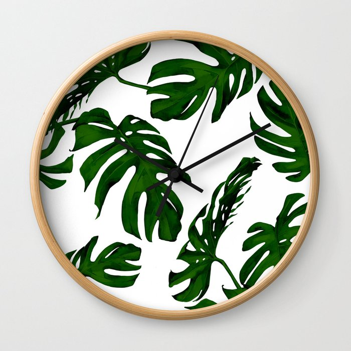 Simply Tropical Palm Leaves in Jungle Green Wall Clock