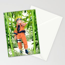 Hero anime in the bamboo forest Stationery Cards
