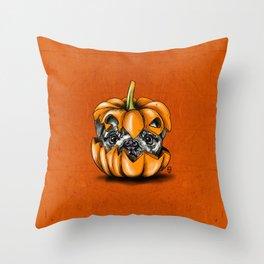 Halloween Pumpkin Pug Throw Pillow