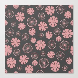 Floral Pattern - pale pink, charcoal gray Canvas Print
