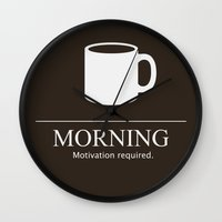 motivation Wall Clocks featuring Morning Motivation by Nathan Cowick