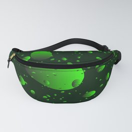Large green drops and petals on a dark background in nacre. Fanny Pack
