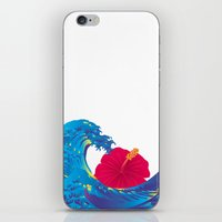 hokusai iPhone & iPod Skins featuring Hokusai Rainbow & Hibiscus_R  by FACTORIE