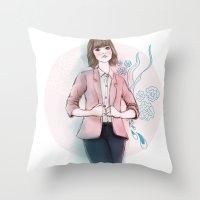 peach Throw Pillows featuring Peach by missjosh