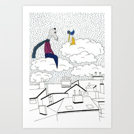 Mr.Master over the rooftops Art Print