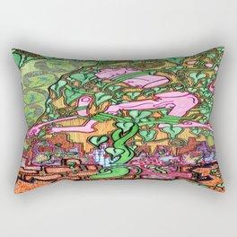 Greens and Oranges Bean Stalk Post Apocalypse Rectangular Pillow