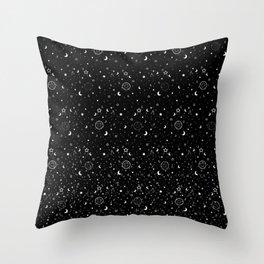 Night Pentacles (B&W) Throw Pillow