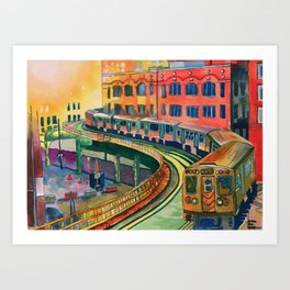 Brown Line to the Loop Art Print