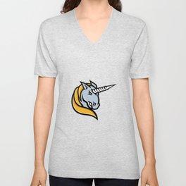 Unicorn Head Mascot Unisex V-Neck
