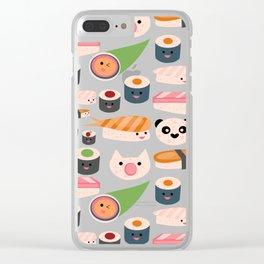 Kawaii sushi white Clear iPhone Case