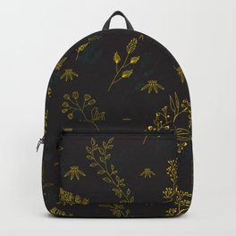 Thin delicate lines silhouettes of different plants. Backpack