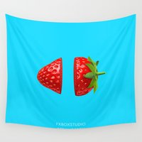 strawberry Wall Tapestries featuring Strawberry by Fx Box Studio