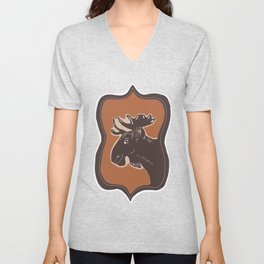 Brown Moose Printmaking Art Unisex V-Neck