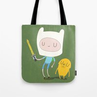 jake Tote Bags featuring Finn & Jake by Rod Perich