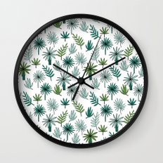 Tropical palm leaves minimal summer pattern print design by andrea lauren Wall Clock