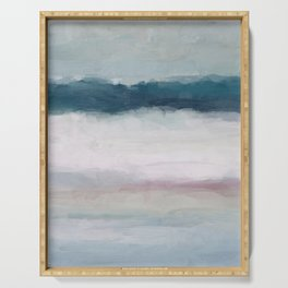 Dark Teal Blue, White, Pink, Light Blue Modern Wall Art, Ocean Waves Diptych Nursery Beach Decor Serving Tray