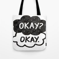 tfios Tote Bags featuring OKAY?OKAY THE FAULT IN OUR STARS TFIOS HAZEL AUGUSTUS CLOUDS by monalisacried