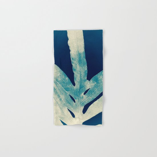 Green Fern at Midnight Bright, Navy Blue Hand & Bath Towel