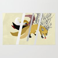kitsune Area & Throw Rugs featuring Kitsune by ravenguerrero