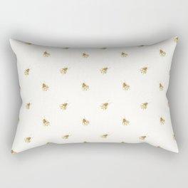 Gold Watercolour Bee Print Rectangular Pillow
