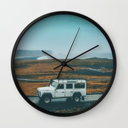 Defender on the Road Wall Clock