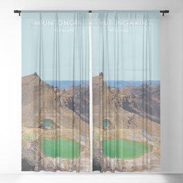 Mount Tongariro, New Zealand Travel Artwork Sheer Curtain